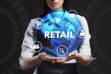 Das Konzept von Wirtschaft, Technik, Internet und Netzwerk. Ein junger Unternehmer arbeitet auf einem virtuellen Bildschirm der Zukunft und sieht die Inschrift: Einzelhandel Standard-Bild - 80508659