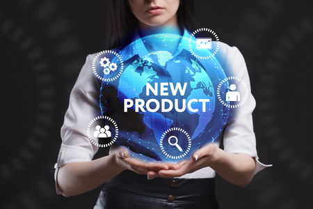 advice: The concept of business, technology, the Internet and the network. A young entrepreneur working on a virtual screen of the future and sees the inscription: New product