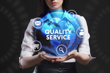 queries: The concept of business, technology, the Internet and the network. A young entrepreneur working on a virtual screen of the future and sees the inscription: Quality service Stock Photo