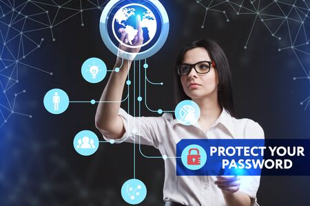 protect: The concept of business, technology, the Internet and the network. A young entrepreneur working on a virtual screen of the future and sees the inscription: Protect your password