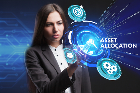 digital asset management: The concept of business, technology, the Internet and the network. A young entrepreneur working on a virtual screen of the future and sees the inscription: Asset allocation