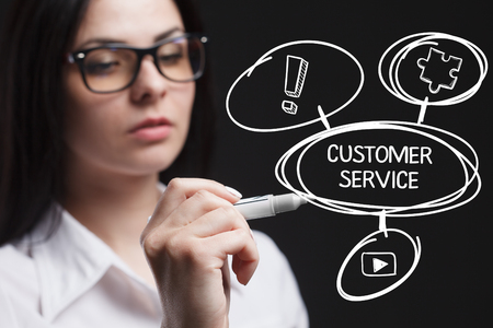 keywords: The concept of business, technology, the Internet and the network. A young entrepreneur working on a virtual screen of the future and sees the inscription: Customer service