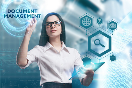 keywords: The concept of business, technology, the Internet and the network. A young entrepreneur working on a virtual screen of the future and sees the inscription: Document management