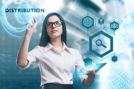 keywords: The concept of business, technology, the Internet and the network. A young entrepreneur working on a virtual screen of the future and sees the inscription: Distribution Stock Photo