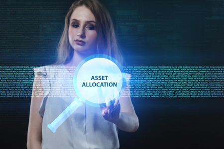 niche: The concept of business, technology, the Internet and the network. A young entrepreneur working on a virtual screen of the future and sees the inscription: Asset allocation