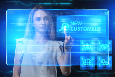 niche: The concept of business, technology, the Internet and the network. A young entrepreneur working on a virtual screen of the future and sees the inscription: New customers Stock Photo