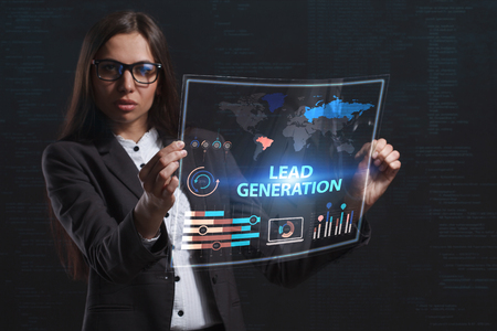 niche: The concept of business, technology, the Internet and the network. A young entrepreneur working on a virtual screen of the future and sees the inscription: Lead generation