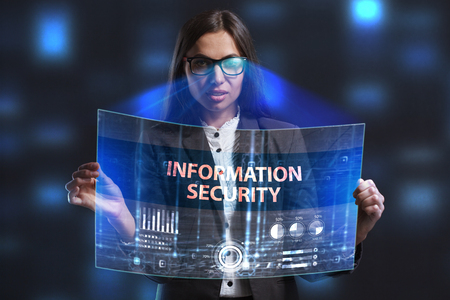 private security: The concept of business, technology, the Internet and the network. A young entrepreneur working on a virtual screen of the future and sees the inscription: Information security