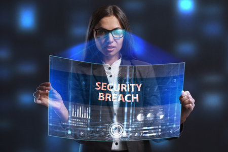 private security: The concept of business, technology, the Internet and the network. A young entrepreneur working on a virtual screen of the future and sees the inscription: Security breach Stock Photo