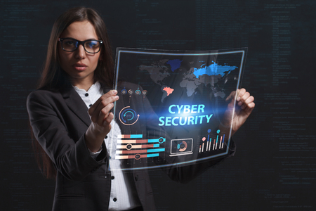private security: The concept of business, technology, the Internet and the network. A young entrepreneur working on a virtual screen of the future and sees the inscription: Cyber security