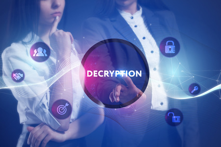 criminal: The concept of business, technology, the Internet and the network. A team of business women working on the virtual screen of the future and see the inscription: Decryption Stock Photo