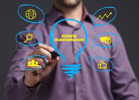 비즈니스, 기술, 인터넷 및 네트워크의 개념. 비문을 보여주는 젊은 사업가 : 비즈니스 변환 스톡 콘텐츠