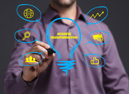 The concept of business, technology, the Internet and the network. Young businessman showing inscription: Business transformation Banque d'images