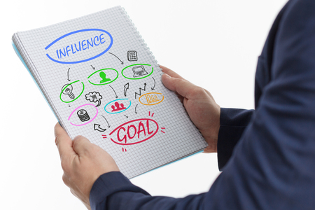 The concept of business, technology, the Internet and the network. A young businessman shows a successful scheme of work: Influence