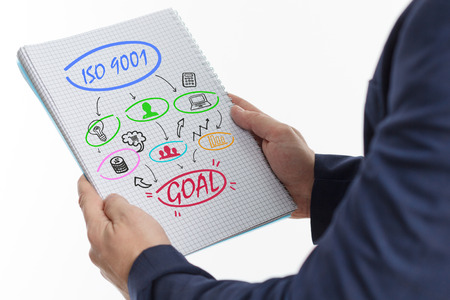 The concept of business, technology, the Internet and the network. A young businessman shows a successful scheme of work: ISO 9001