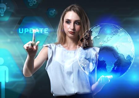 Das Konzept von Business, Technologie, Internet und Netzwerk. Ein junger Unternehmer arbeitet an einem virtuellen Bildschirm der Zukunft und sieht die Inschrift: Update Standard-Bild - 95017078