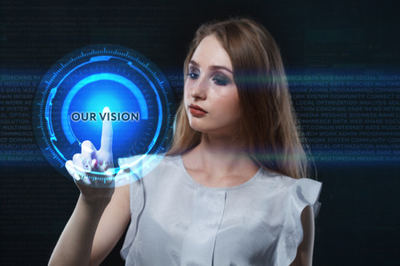 The concept of business, technology, the Internet and the network. A young entrepreneur working on a virtual screen of the future and sees the inscription: Our vision 写真素材 - 95423383