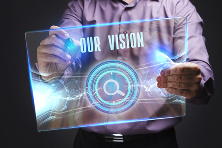 The concept of business, technology, the Internet and the network. A young entrepreneur working on a virtual screen of the future and sees the inscription: Our vision 写真素材 - 96302229