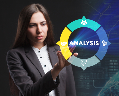 The concept of business, technology, the Internet and the network. A young entrepreneur working on a virtual screen of the future and sees the inscription: Analysis Stock Photo