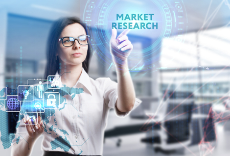 The concept of business, technology, the Internet and the network. A young entrepreneur working on a virtual screen of the future and sees the inscription: Market research Stock Photo