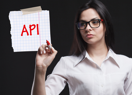 The concept of marketing, technology, the Internet and the network. A young businessman shows what is important for business: API