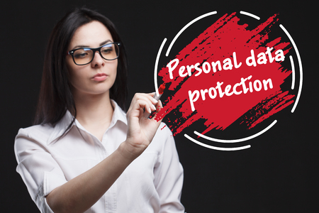 The concept of marketing, technology, the Internet and the network. A young businessman shows what is important for business: Personal data protection
