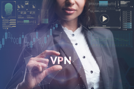The concept of business, technology, the Internet and the network. A young entrepreneur working on a virtual screen of the future and sees the inscription: VPN Foto de archivo
