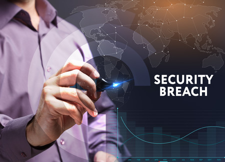 The concept of business, technology, the Internet and the network. A young entrepreneur working on a virtual screen of the future and sees the inscription: Security breach Stock Photo