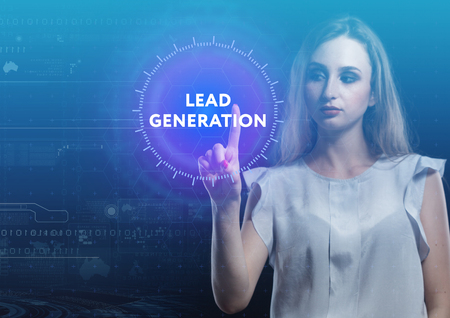 The concept of business, technology, the Internet and the network. A young entrepreneur working on a virtual screen of the future and sees the inscription: Lead generation
