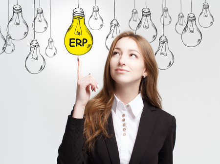 Business, technology, internet and networking concept. The young entrepreneur got the innovative idea: ERP