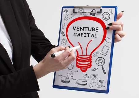 Business, technology, internet and networking concept. Young entrepreneur showing keyword: Venture capital Banco de Imagens