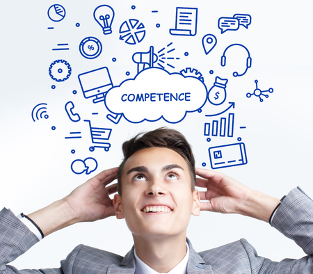 Business, technology, internet and networking concept. The young entrepreneur thought: Competence