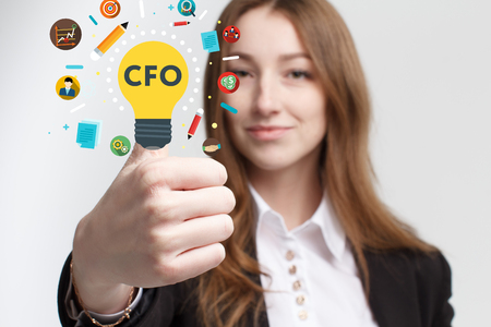Business, technology, internet and networking concept. Young entrepreneur showing keyword: CFO