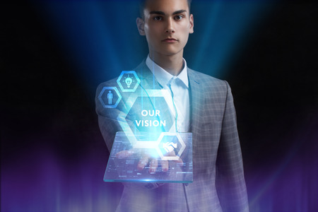 The concept of business, technology, the Internet and the network. A young entrepreneur working on a virtual screen of the future and sees the inscription: Our vision 写真素材 - 118738505