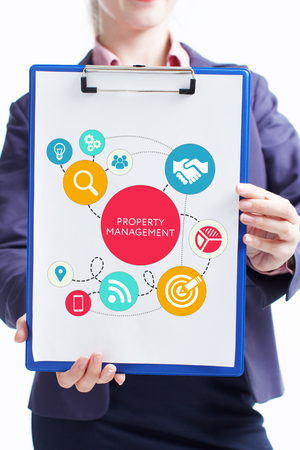 Business, technology, internet and networking concept. Young entrepreneur showing keyword: Property management