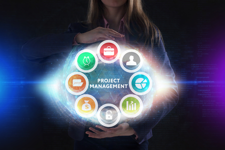 The concept of business, technology, the Internet and the network. A young entrepreneur working on a virtual screen of the future and sees the inscription: Project management Stock Photo - 119217261