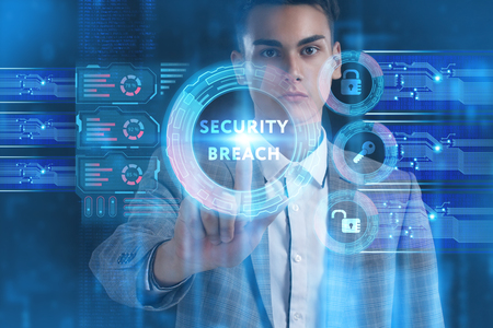 The concept of business, technology, the Internet and the network. A young entrepreneur working on a virtual screen of the future and sees the inscription: Security breach Фото со стока
