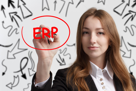 Business, technology, internet and networking concept. Young entrepreneur showing keyword: ERP Stock Photo