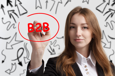 Business, technology, internet and networking concept. Young entrepreneur showing keyword: B2B Stock Photo