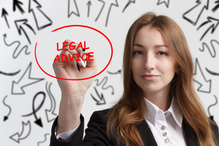 Business, technology, internet and networking concept. Young entrepreneur showing keyword: Legal advice Stock Photo