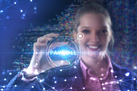 The concept of business, technology, the Internet and the network. A young entrepreneur working on a virtual screen of the future and sees the inscription: Payroll