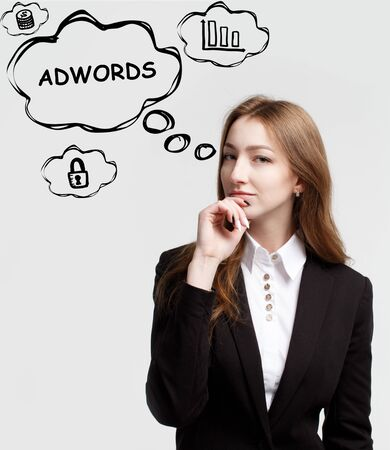 Technology, internet and network. A young entrepreneur is thinking how to become successful and protect your business: AdWords