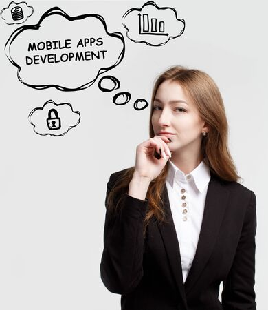 Technology, internet and network. A young entrepreneur is thinking how to become successful and protect your business: Mobile apps development Stockfoto