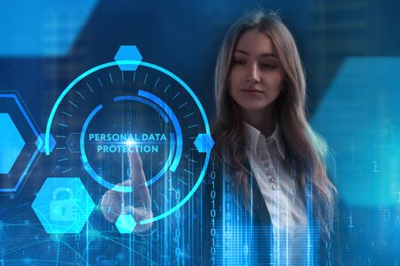 The concept of business, technology, the Internet and the network. A young entrepreneur working on a virtual screen of the future and sees the inscription: Personal data protection