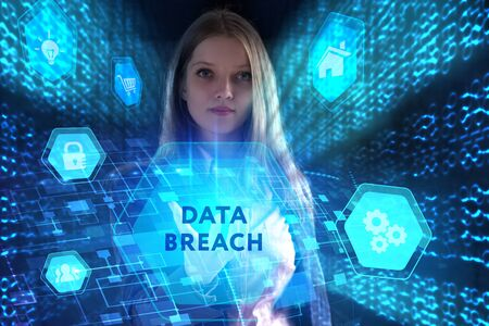 The concept of business, technology, the Internet and the network. A young entrepreneur working on a virtual screen of the future and sees the inscription: Data breach Фото со стока