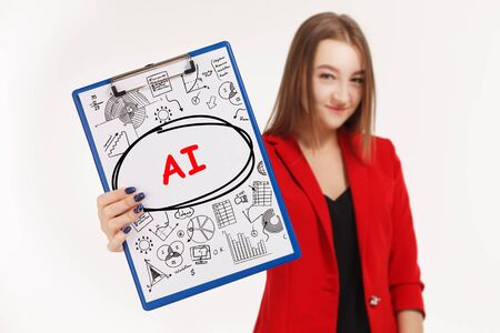 Business, technology, internet and networking concept. Young entrepreneur showing keyword: AI