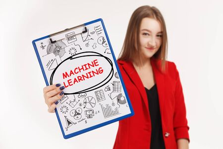 Business, technology, internet and networking concept. Young entrepreneur showing keyword: machine learning