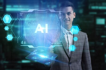 The concept of business, technology, the Internet and the network. A young entrepreneur working on a virtual screen of the future and sees the inscription: AI Stockfoto