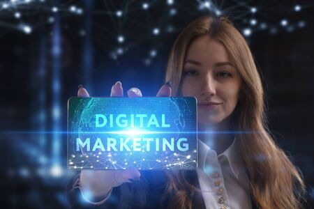 The concept of business, technology, the Internet and the network. A young entrepreneur working on a virtual screen of the future and sees the inscription: Digital Marketing Reklamní fotografie