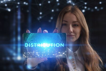 The concept of business, technology, the Internet and the network. A young entrepreneur working on a virtual screen of the future and sees the inscription: Distribution Reklamní fotografie